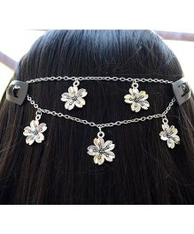 Pretty Ponytails Hibiscus Flower Motifs Hair Jewelry Headchain - Silver