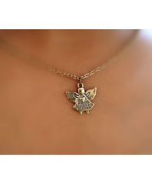 Pretty Ponytails Guarding Angel Pendant Chain Necklace - Gold