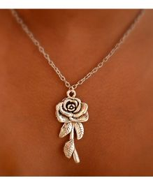 Pretty Ponytails Engraved Rose Pendant Chain Necklace - Silver