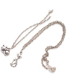 Pretty Ponytails Cats Bracelet Pendant Chain Necklace Set Of 2 - Silver