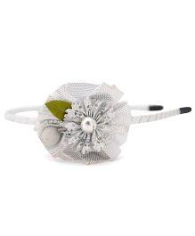 Pretty Ponytails Hair Band Flower Applique - Silver