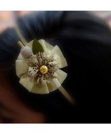 Pretty Ponytails Hair Band Flower Applique - Golden