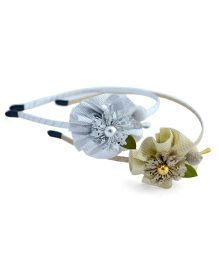 Pretty Ponytails Hair Bands Floral Appliques Pack of 2 - Golden Silver