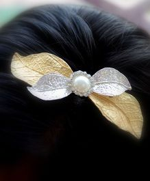 Pretty Ponytails Hair Band Leaves Applique - Golden Silver
