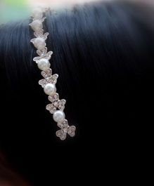 Pretty Ponytails Hair Band Pear And Floral Motifs - Silver Golden