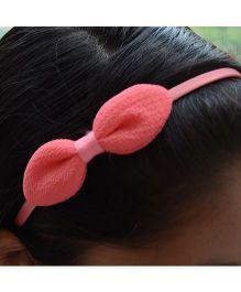 Pretty Ponytails Hair Band Bow Applique - Dark Peach