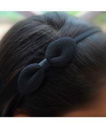 Pretty Ponytails Hair Band Bow Applique - Black