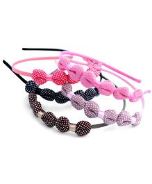 Pretty Ponytails Hair Bands Dotted Bow Appliques Pack of 5 - Multicolor