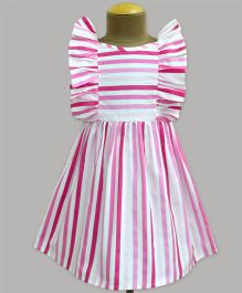 A.T.U.N Plum Passion Stripe Ruffle Dress - Pink