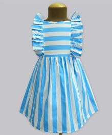 A.T.U.N Columbus Cloud Stripe Ruffle Dress - Blue