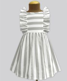 A.T.U.N Stripe Ruffle Dress - Grey