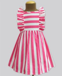 A.T.U.N Stripe Ruffle Dress - Poppy Pink