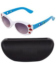 Kidofash Flower Printed Designer Sunglasses With Case - White & Blue