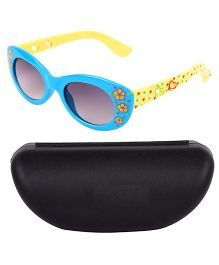 Kidofash Flower Printed Designer Sunglasses With Case - Blue & Yellow