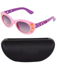 Kidofash Flower Printed Designer Sunglasses With Case - Yellow & Blue