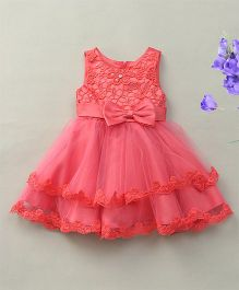 Fashion Collection By Meggie Sleeveless Net Layered Floral Party Dress With Bow - Dark Pink