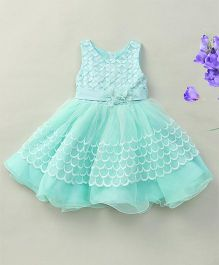 Fashion Collection By Meggie Sleeveless Net Party Dress With 3 D Flowers - Aqua Blue