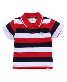 Water Melon Trendy Striped Print Tee - Red & Navy Blue