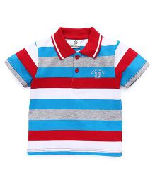 Water Melon Trendy Striped Print Tee - Red & Blue