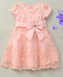 Fashion Collection By Meggie Cap Sleeves Net Party Dress With Bow - Light Peach