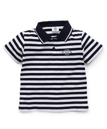 Water Melon Small Striped Print Tee - Navy Blue & White
