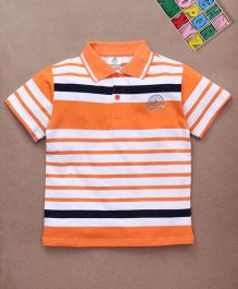 Water Melon Stripes Print Polo Neck Tee - Orange & White