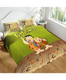 DCTex Furnishings 220 TC The Flintstones Print King Bed Sheet - Green