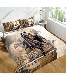 DCTex Furnishings 220 TC Batman Print King Bed Sheet - Brown Cream
