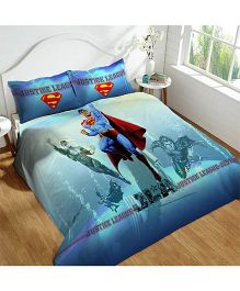 DCTex Furnishings 220 TC Justice League Superman Print King Bed Sheet - Blue