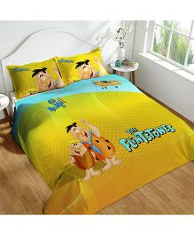 DCTex Furnishings 220 TC The Flintstones Print King Bed Sheet - Yellow