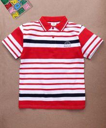 Water Melon Stripes Print Polo Neck Tee - Red & White