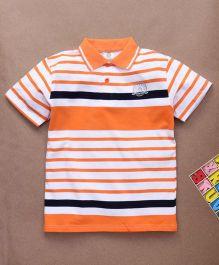 Water Melon Stripes Print Polo Neck Tee - Orange & White