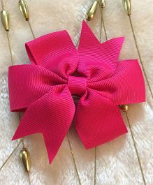 Angel Closet Boutique Floral Grosgrain Ribbon Bow Clips - Bright Pink
