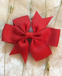 Angel Closet Boutique Floral Grosgrain Ribbon Bow Clips - Red