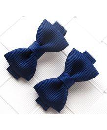 Angel Closet Boutique Floral Grosgrain Ribbon Bow Clips Pair - Navy Blue