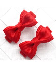 Angel Closet Boutique Floral Grosgrain Ribbon Bow Clips Pair - Red