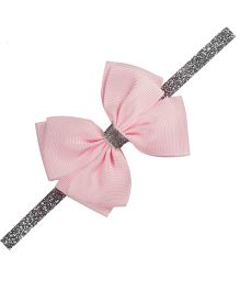Angel Closet Bow with Silver Ribbon Headband Pink One Size Grosgrain Ribbon