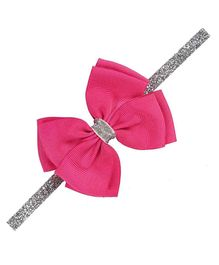 Angel Closet Bow with Silver Ribbon Headband Brigth Pink One Size Grosgrain Ribbon