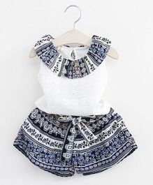 Pre Order - Awabox Chikankari Top With Mexican Print Shorts - Blue
