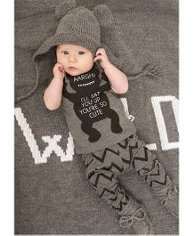 Pre Order - Awabox T-Shirt With Zig Zag Lines Pajama Set - Grey