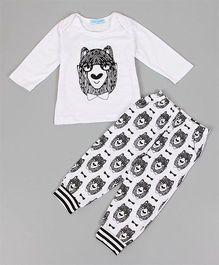 Pre Order - Awabox Wolf Print Full Sleeves Tee & Pajama Set - White