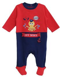 FS Mini Klub Full Sleeves Footed Sleep Suit Octopus Print - Red Navy