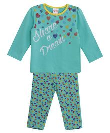 FS Mini Klub Full Length Hearts Dream Print Top And Pajama- Green