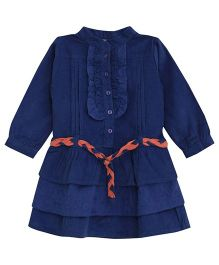 FS Mini Klub Full Sleeves Layered Frock With Belt - Blue