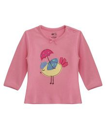 FS Mini Klub Full Sleeves T-Shirt With Birdie Patch - Pink