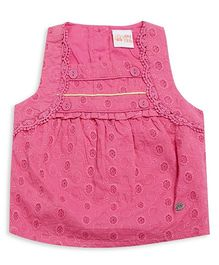 FS Mini Klub Sleeveless Top With Self Design - Pink