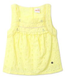 FS Mini Klub Sleeveless Top With Self Design - Yellow