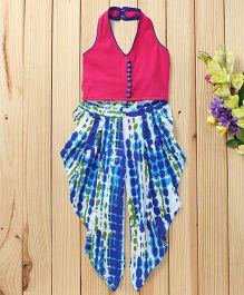 Twisha Shibori Dhoti Pants With Crop Top - Blue & Pink