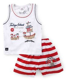 Ollypop Sleeveless T-Shirt And Stripe Shorts Tortugya Island Print - White Red