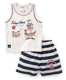 Ollypop Sleeveless T-Shirt And Stripe Shorts Tortugya Island Print - Cream Navy